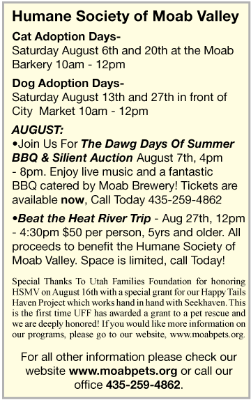 August 2011 Humane Society Event Dates