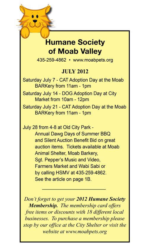 Human Society of Moab Valley adoption day dates.