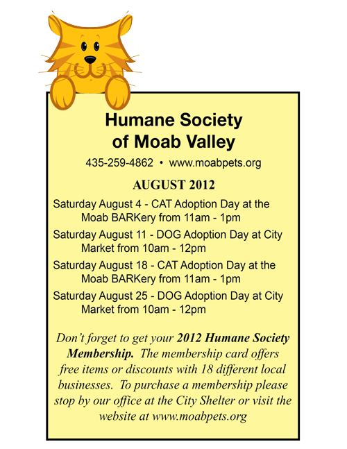 Humane Society of Moab Valley Adoption Day dates for August 2012