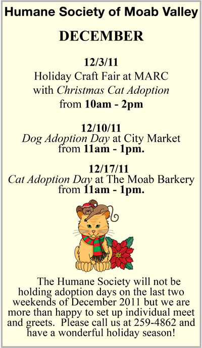 December 2011 Humane Society Adoption Days and events