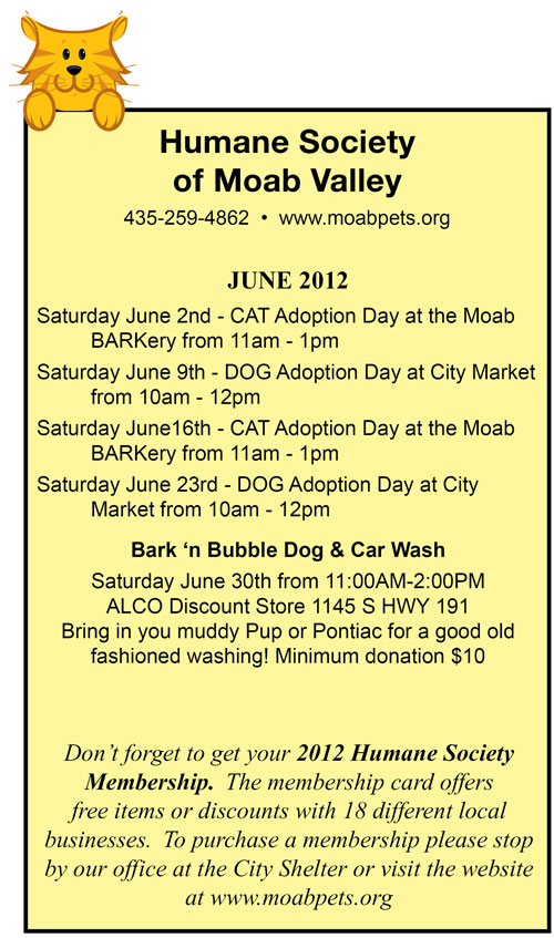 June 2012 Humane Society of Moab Valley Adoption Days