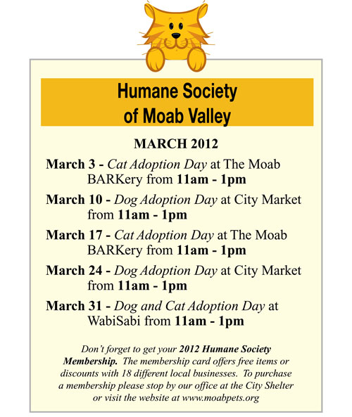 March 2012 Humane Society of Moab Valley adoption days
