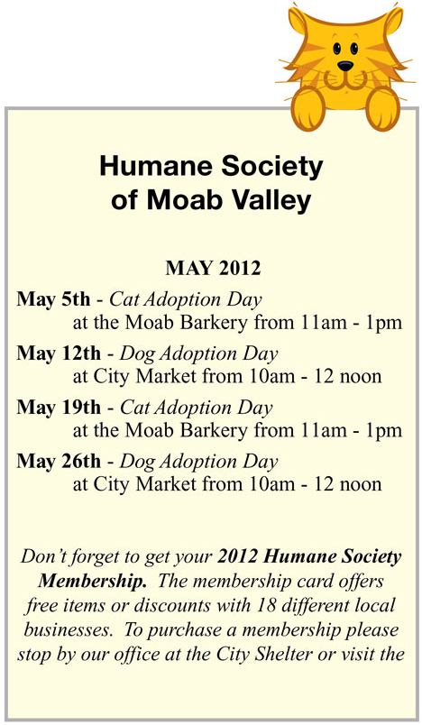 May 2012 Humane Society of Moab Valley Adoption Days