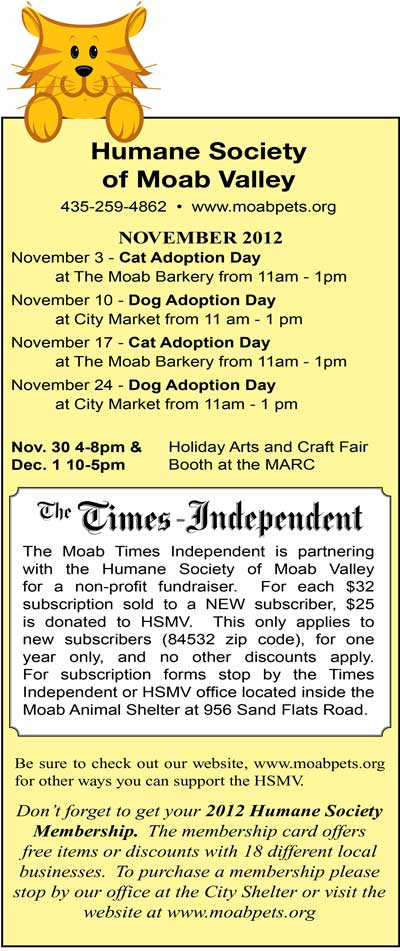 Humane Society of Moab Valley Adoption Day dates for November 2012