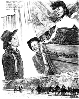 Scene from the movie Wagonmaster, drawn by John Hagner