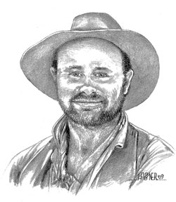 Drawing of Jerry Gatlin by John Hagner, Moab Utah