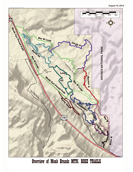 Map of Moab Brand Trails
